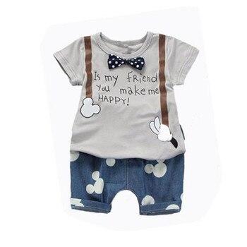 New Summer Baby Boys Outfit Print t Shirt+Mouse Pant 2pcs Baby Boy Clothes Set roupa infantil Newborn boy set Baby Clothing Sets