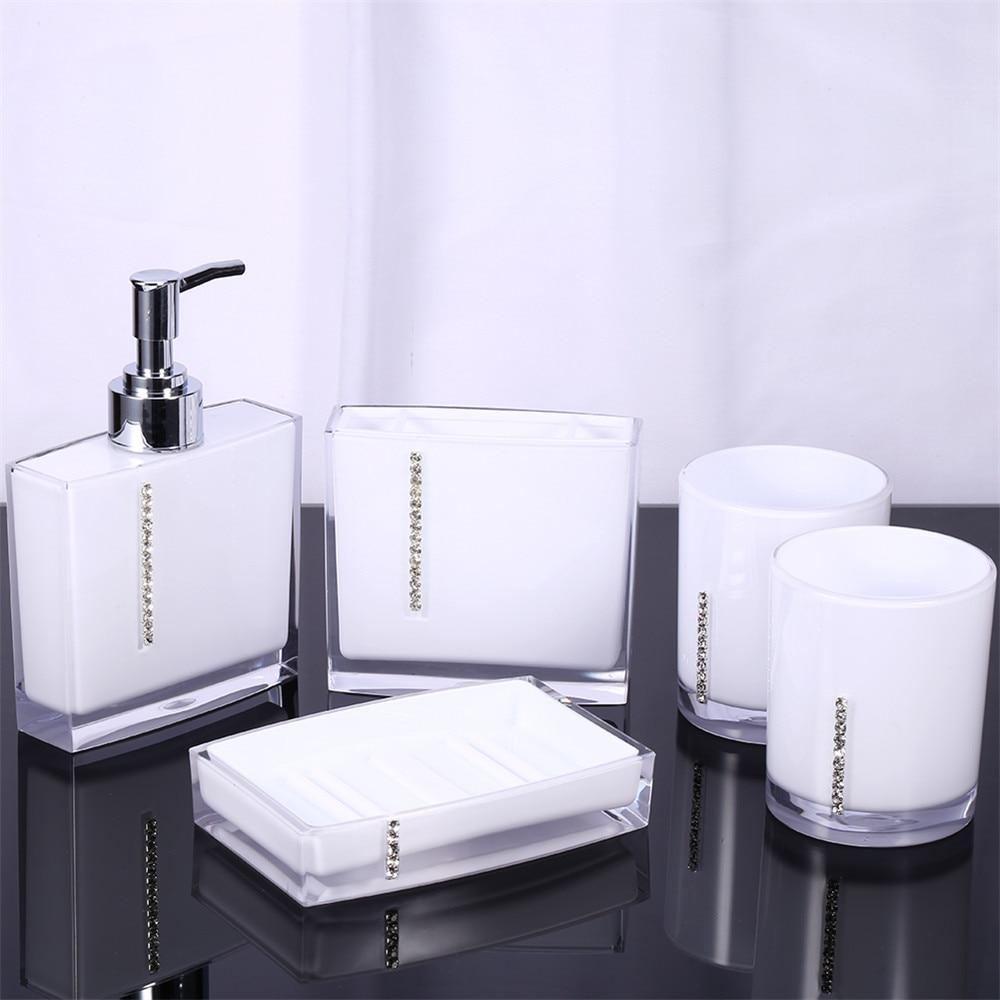 5 Pcs/Set Europe Style Bathroom Supplies Wash Set Creative Acrylic ...