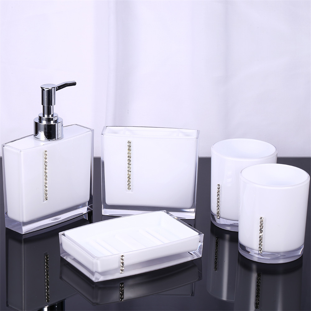 Bathroom accessories set online - Acrylic Lotion Bottle Toothbrush Holder Soap Dish Wash Set Family Emulsion Bottle Soap Dispenser Bathroom Accessories Set