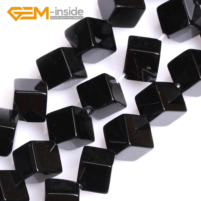 Square Cube Black Agates Gem Stone Beads For Jewelry Making Beads DIY Loose Beads Top Quality Strand 15Wholesale Free Shopping!