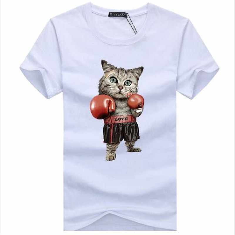 Binyuxd Мужская футболка с 3D принтом, боксингер, кошка, летняя футболка Kawaii, большие размеры, Puglism, сильный боксер, мужские футболки