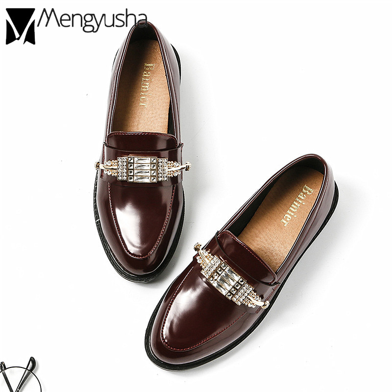 ead8b7c1d1a Aliexpress.com   Buy Preppy Luxury Designer Shoes Ladies Autumn Crystal  Oxford Shoes Metal Decorate Moccasins Women Flats Leather Espadrilles  Creeper from ...