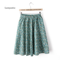 Leonyeetive 2017 Spring Summer Casual Floral Fashion Skirts Womens Cotton Linen Embroidery Skirt