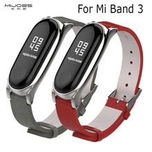 For Mi Band 3 Strap Metal Frame PU Leather Strap For Xiaomi Mi Band 3 Smart Bracelet Accessories Miband 3 PU Plus Leather Strap