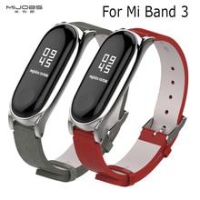 Для Mi Band 3 ремешок металлический каркас PU кожаный ремешок для Xiaomi Mi Band 3 Аксессуары для смарт браслета Miband 3 PU Plus кожаный ремешок