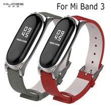 Pour mi bande 3 sangle cadre en métal PU Bracelet en cuir pour Xiao mi bande 3 Bracelet intelligent accessoires mi bande 3 PU Plus Bracelet en cuir