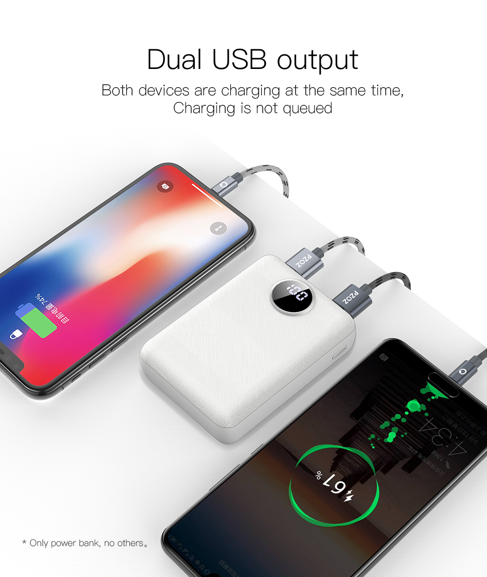 PZOZ Power Bank 10000mAh Dual USB Mobile Phone External Battery Fast Charge For iphone xiaomi mi Portable Charger mini PowerBank 6
