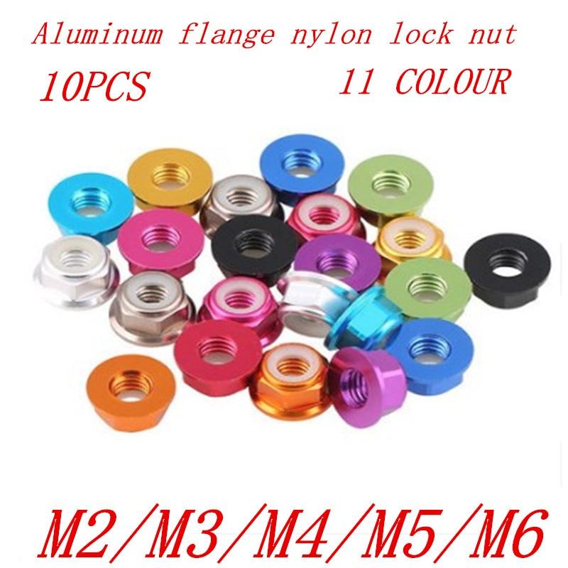 10 шт./компл. M2 M3 M4 M5 m6 11 цветов фланец нейлоновые заклепки гайки Rivnut гайки из алюминиевого сплава с шестигранным нейлоновым замком