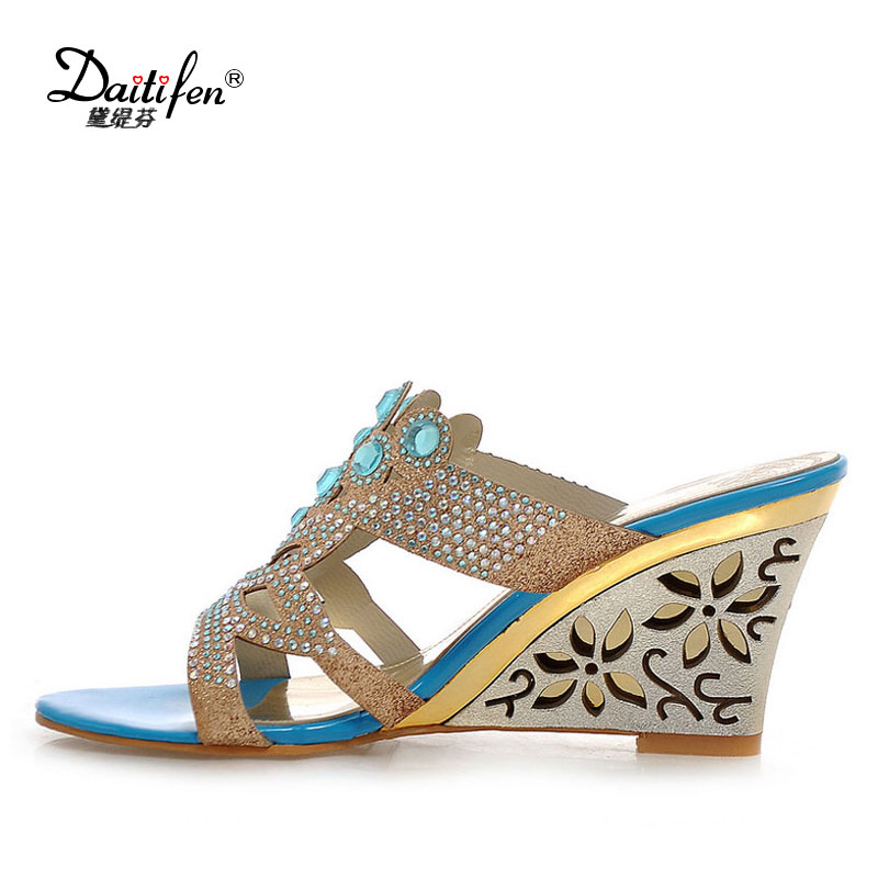 Daitifen Fashion Summer women Slippers Sexy Open toe Beautiful Crystal Floral Hollow Wedge high heel lady Party Casual shoes geparlys beautiful lady
