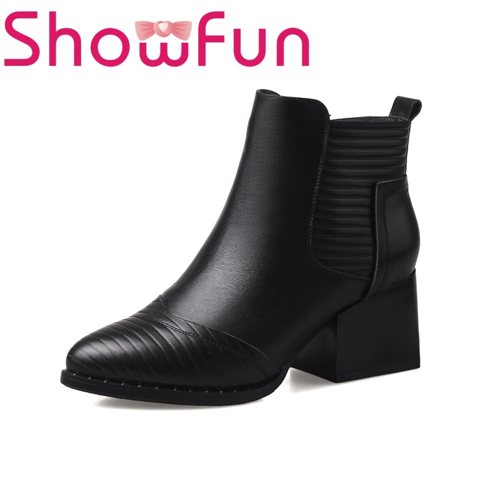 Showfun genuine leather shoes woman solid square ankle heel boots showfun 2018 genuine leather retro faux