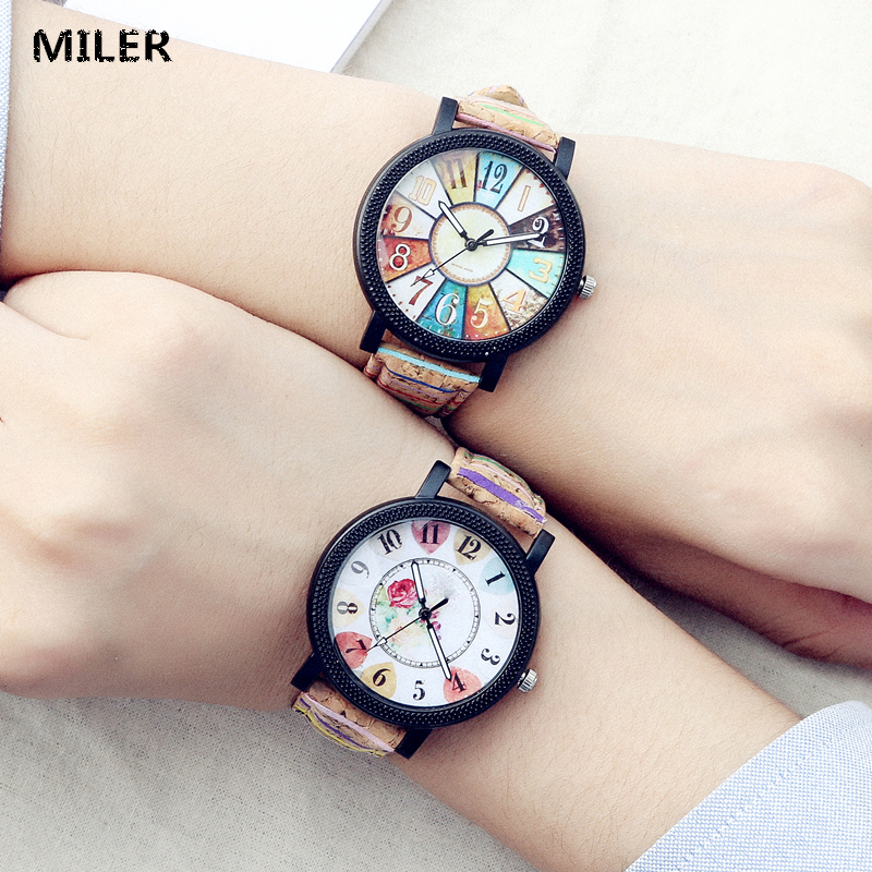 MILER Brand New Fashion Watch Women Vintage Leather Color Flower Number Casual Quartz Wristwatch Students Clock Relogio Feminino miler vintage fashion watch women retro leather strap world map casual quartz wristwatch ladies creative clock relogio feminino