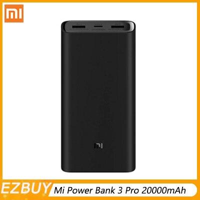 2019 nouveau 20000mAh Mi batterie externe 3 Pro édition USB USB-C deux voies de charge rapide 20,000mAh USB-C 45W pour ordinateur portable/téléphone