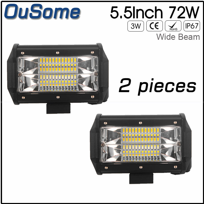 OuSome 2 pacco 5.5 pollice 72 w nuovo ampio fascio dell'inondazione del fascio impermeabile 4x4 trattore auto camion 12 v 24 v DC fuori strada del lavoro del LED luce