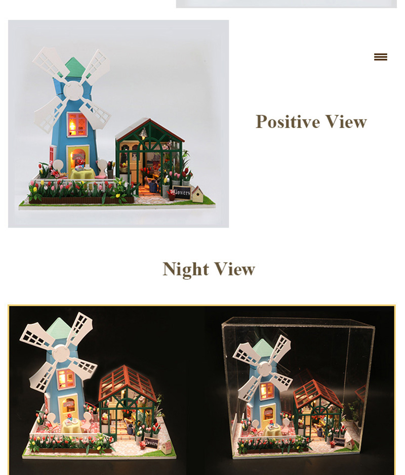 DIY Wooden Miniature Doll House for Children Adult Windmill Flower House with Furnitures Model Building Kits Dollhouse Toys (3)