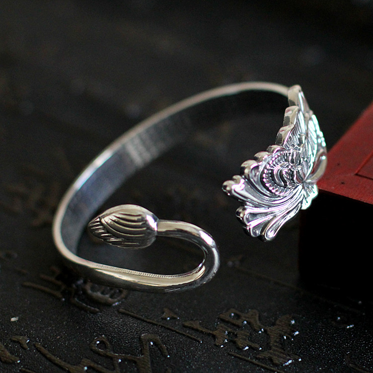 Personality Silver Products Tailored Openings Carved Restore Ancient Ways The Lotus Heart Sutra Bracelet tailored
