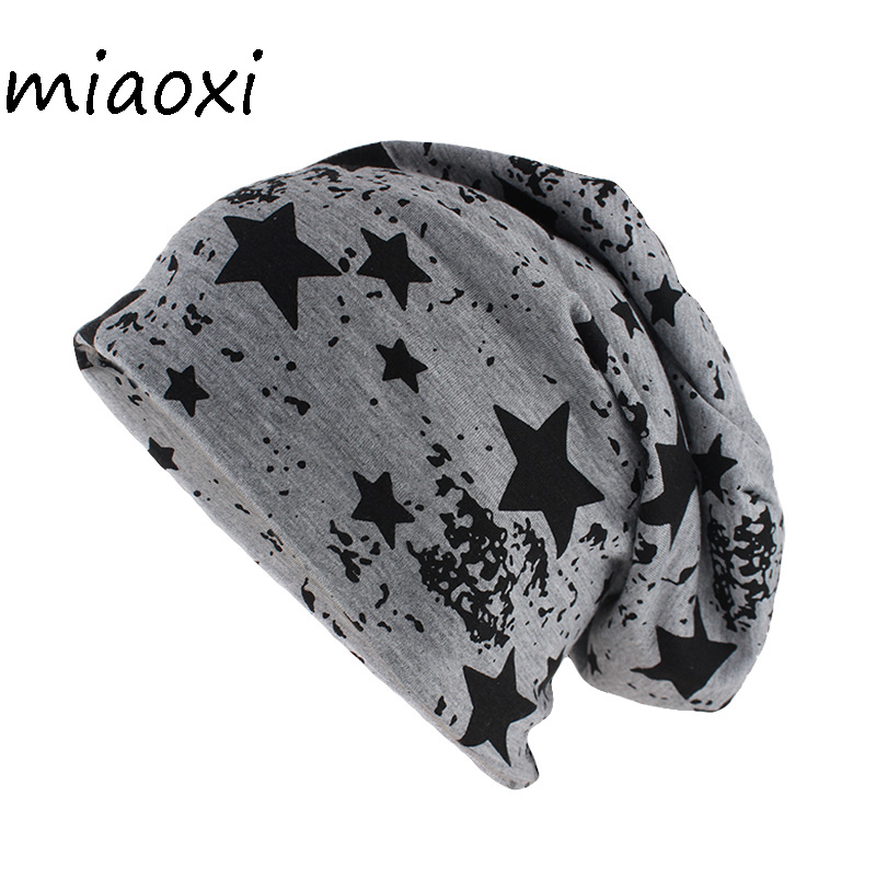 Miaoxi New Style Fashion Star Adult Hat Caps For Unisex Casual Cotton Beanies Skullies Lady Brand Soft Thin Hats