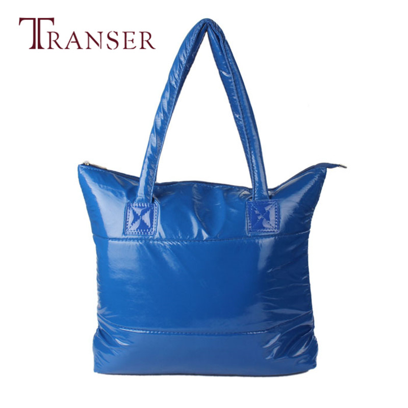 TRANSER Female Large New Fashion Women Girl Space Bale Cotton Totes Handbag Feather Down Shoulder Bag High Quality Zipper Aug17