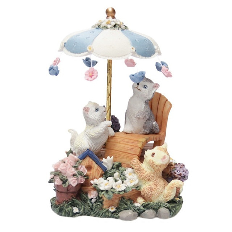 Refinement Retro Nostalgia Rotating Umbrella CAT Music Box Personality Creative Resin Artware Gift High Quality Collection L913 refinement carousel music box house and