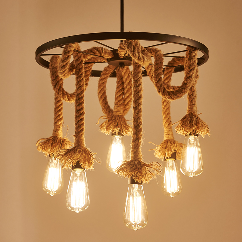 American retro loft wrought iron hemp rope pendant lights round Wheel iron lamp E27 with Edison Bulbs for Cafe restaurant bar rural pastoral creative restaurant cafe personality wrought iron rope chandelier lamp internet cafe bar loft hemp rope lamp