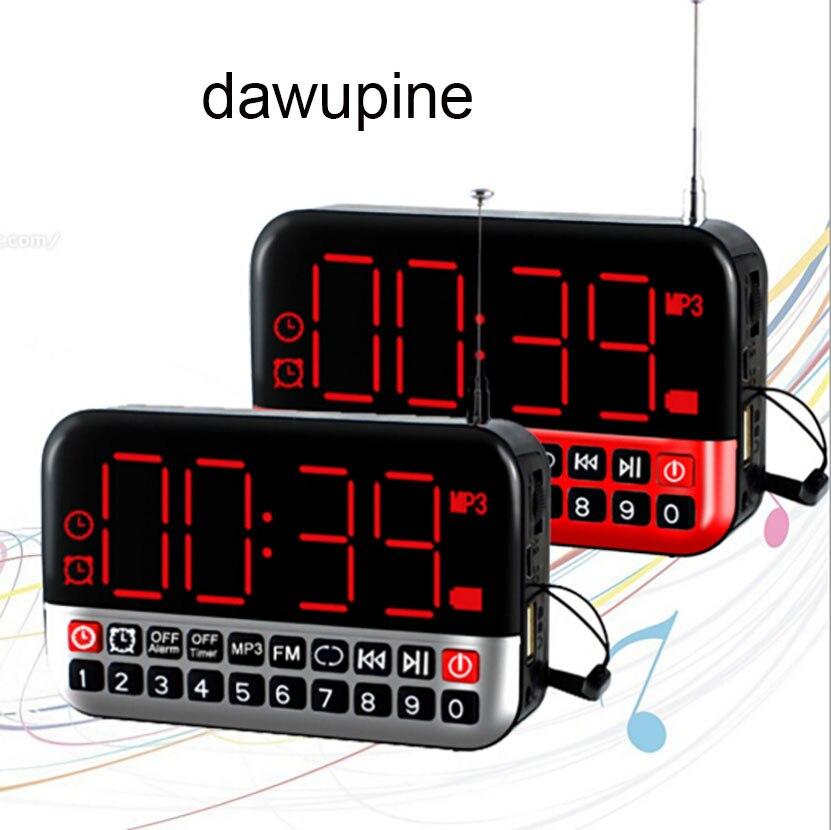 dawupine Multi-function Mini Speaker Alarm Clock Radio MP3 Portable Audio Player SD Card USB Reader Slot FM Radio Li-ion Battery
