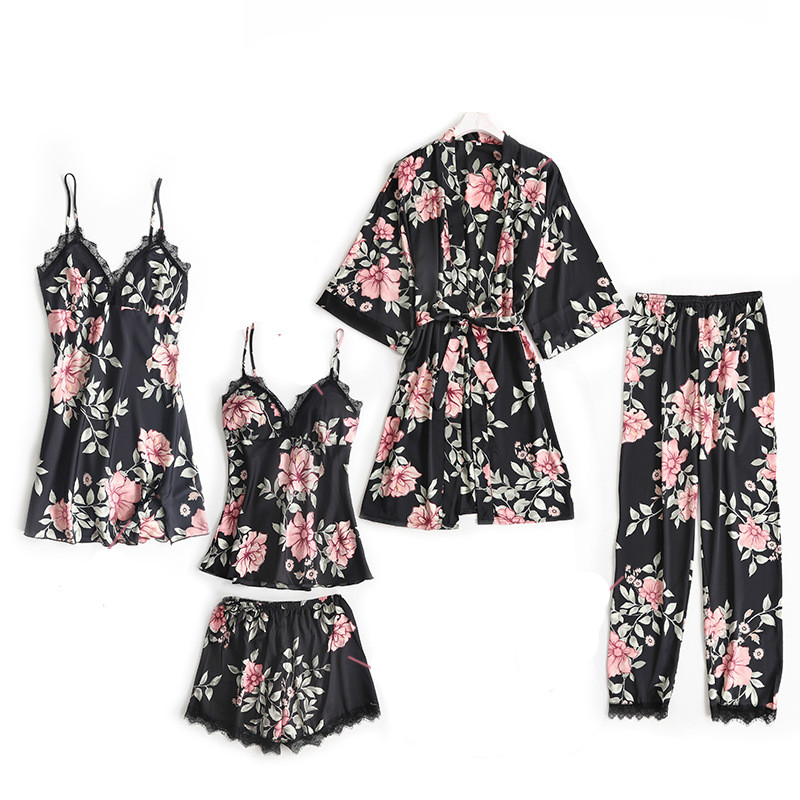 5 Pieces Sleep Lounge Pajama Set Sexy Satin Sleepwear Pijama Silk Home Wear Women Summer Flower Pajamas for Women Robe Pyjama