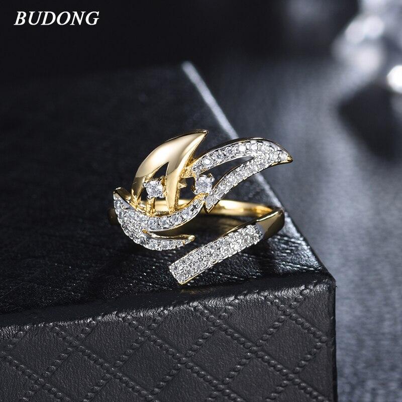 12e3667519eb BUDONG Infinity anillo abierto Envío Directo joyería Color oro fiesta  cóctel trabajo para mujeres venta al por mayor Bijoux nueva llegada XUR698