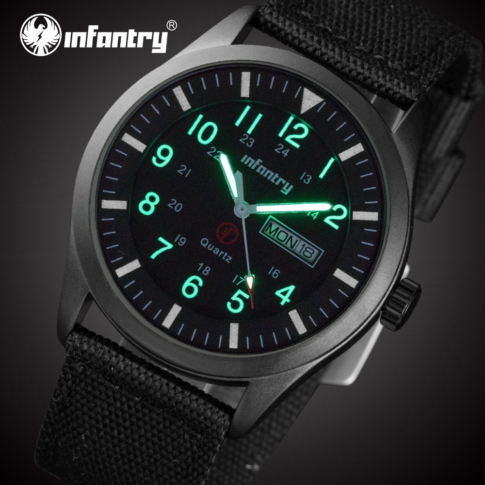 INFANTRY Quality Brand Watch Men Watches Male Clock Nylon Strap Quartz Watch Wrist Calendar Date Quartz-watch Relogio M