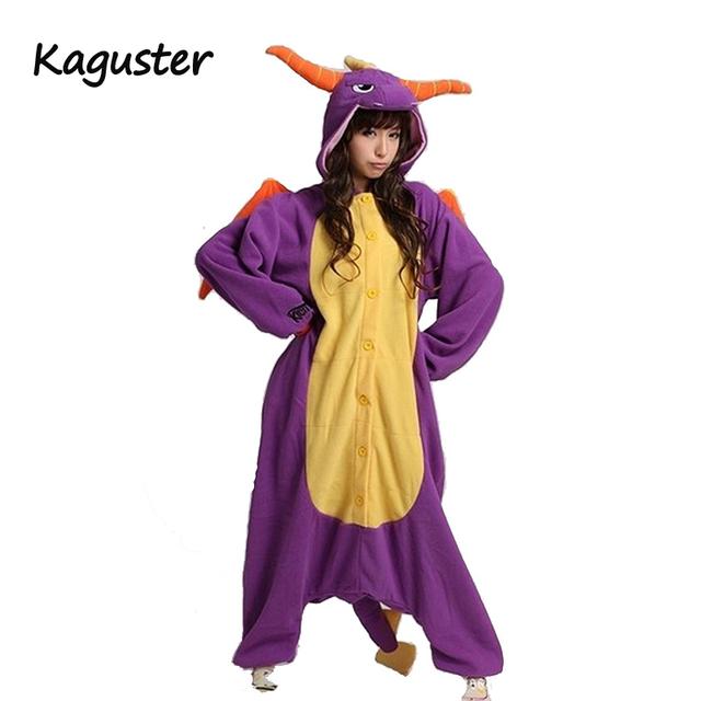 Unisex Adult Pajamas Sets Anime Costume Kigurumi Animal Onesie Purple Dragon Cosplay Costume For Halloween Party