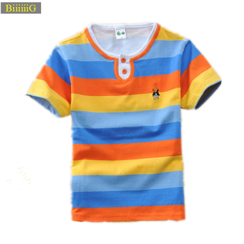 2018 Summer Top Cotton O-neck T-shirt for Boys Breathable Suction Sweat Stripe Casual Sweatshirt Children's Clothes 3-13y self tie stripe pattern v neck shirt