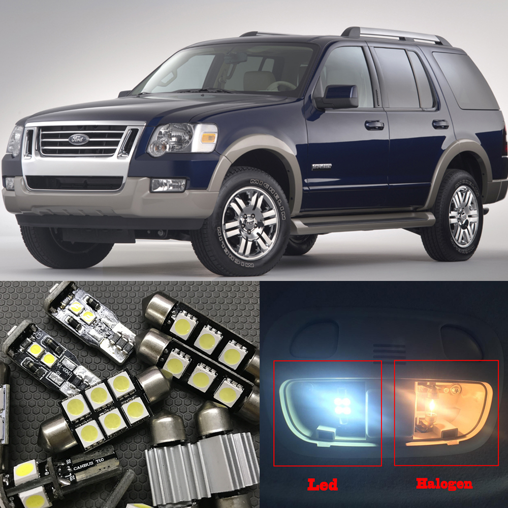 10Pcs White Bulbs LED Light Interior Package Kit For Ford Explorer 2006 2007 2008 2009 2010 Dome License Plate light Ford-B-12 12pcs white led light bulbs interior package kit for 2003 2004 2005 2006 2007 2008 mazda 6 map dome license plate lamp