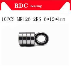 10 шт., шарикоподшипник с глубоким желобом MR126, 2RS, MR126RS, 6x12x4 мм, резиновый, герметичный, миниатюрный, высокое качество