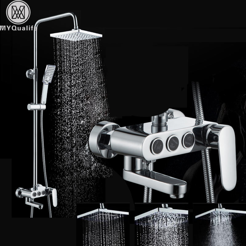 Polished Chrome Wall Mount Shower Faucet Single Lever 3 Diverter Knob Bath Shower Mixers Swivel Tub Spout 8 Rain Shower Head