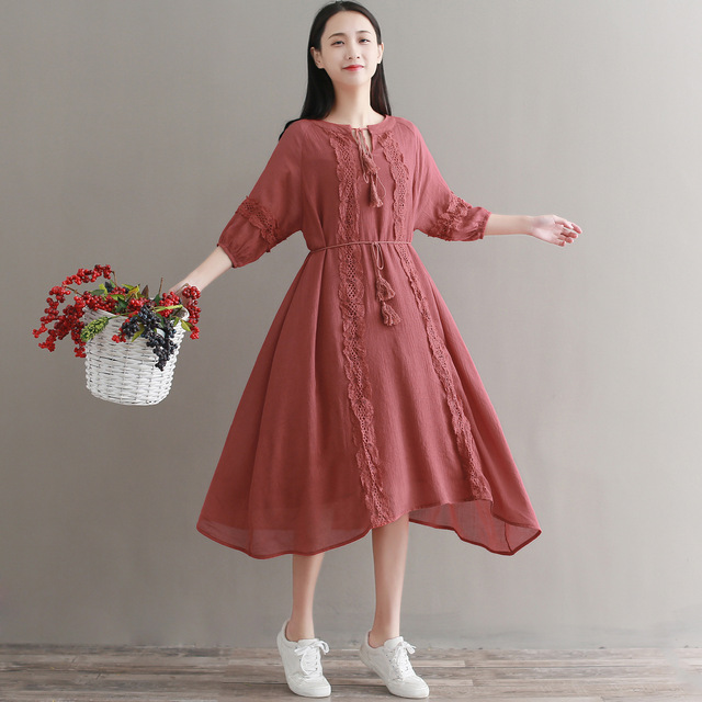 9b0aac5edccc2 US $30.09 49% OFF|Mori Girl Bohemian Retro Ethnic Vintage Tassel Lace  Ruffle Crochet Solid Chiffon Robe Femme Vestido Boho Women Spring Fall  Dress-in ...