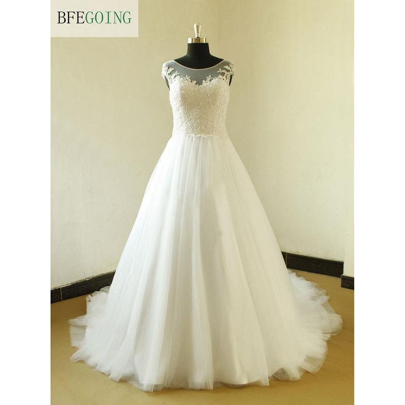 White Tulle Appliques A line Wedding Dress Court Train Floor Length Sleeveless Real Original Photos Custom