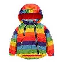 2017NEW Rainbow Children Jacket Spring Autumn Windbreaker Kid Coat Girl boy Clothing Windproof coat Polar Fleece inside 1-7years