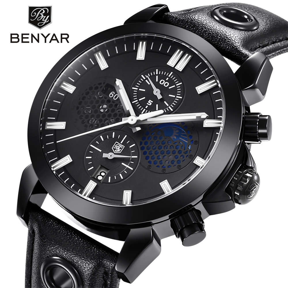 BENYAR Fashion Sports Chronograph Watches Men Waterproof Moon Phase Leather Quartz Wrist Watch Support dropshipping black