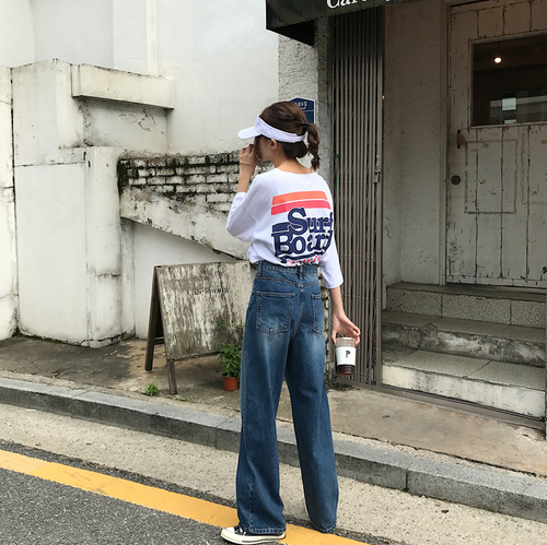 Japanese Harajuku Chic Must Have Loose Street Style Baggy Dark Blue Broad Leg Cowboy Trousers New Fashion Hot Sale Jeans 4