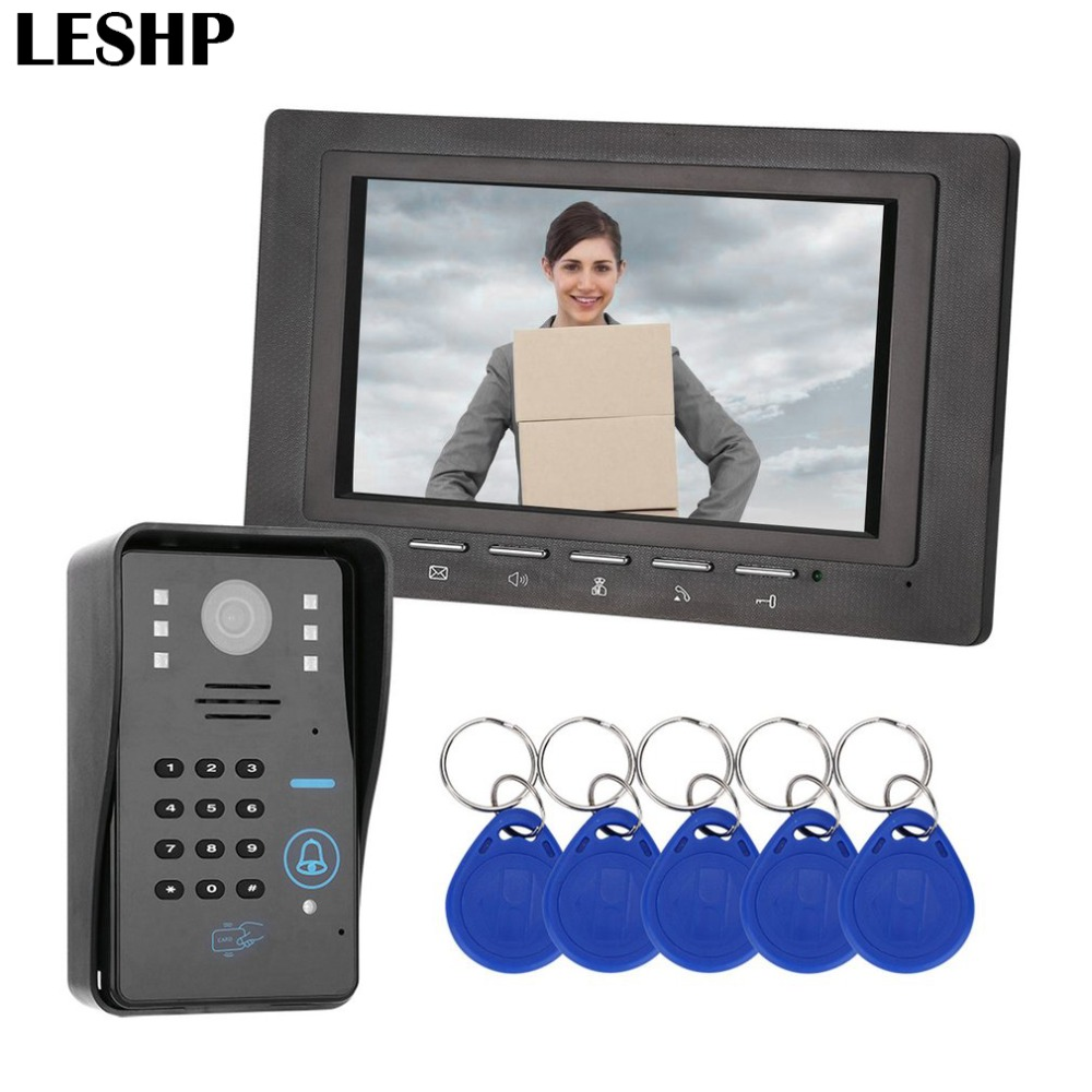 7 inch RFID Password Monitor Video Door Phone Intercom Doorbell With IR Camera Night Vision 1000 TV Line Access Control System 7 inch password id card video door phone home access control system wired video intercome door bell