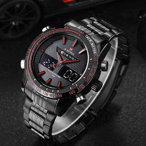 Image 1 - NAVIFORCE New Men Fashion Sport Watches Luxury Brand Mens Quartz Digital Analog Clock Man Stainless Steel Wrist Watch