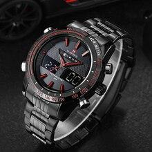 NAVIFORCE yeni erkek moda spor saatler lüks marka erkek kuvars dijital Analog saat erkek paslanmaz çelik kol saati
