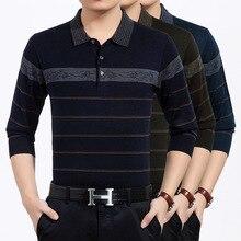 qiu dong наряд длинный рукав с отворотом Тонкий полосатый свитер модный мужской свитер с длинными рукавами рубашка