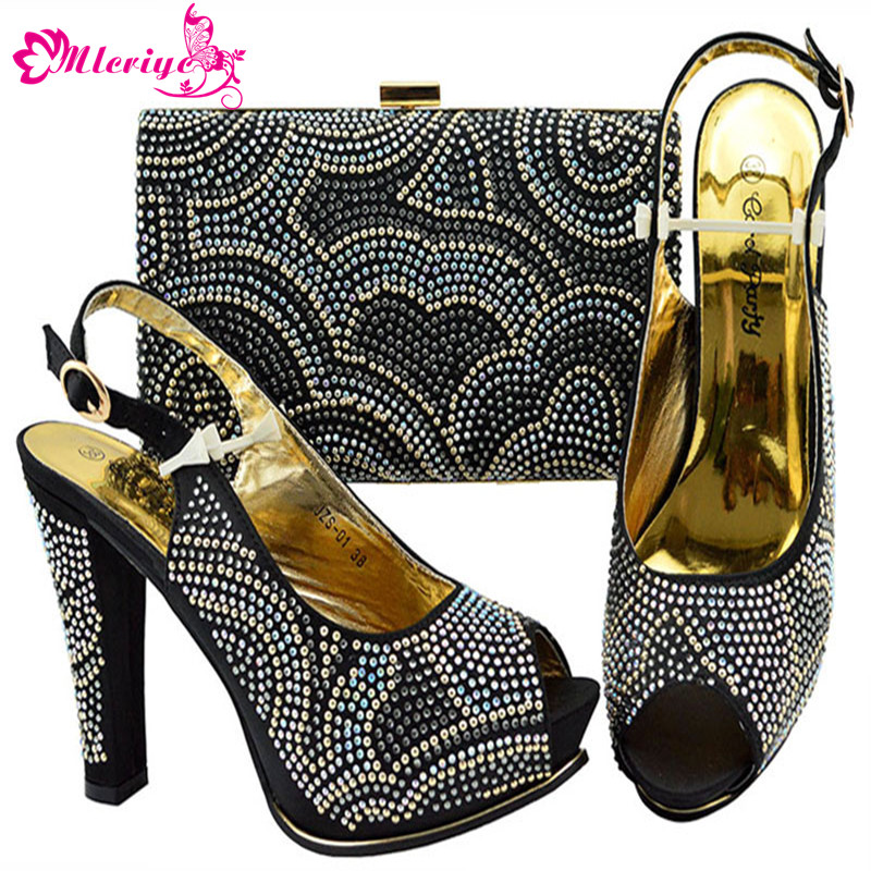 b98b6f353299d3 New Fashion Italian Shoes with Matching Bags Set for Wedding and Party African  Shoes and Bag Sets with Rhinestone High Heels