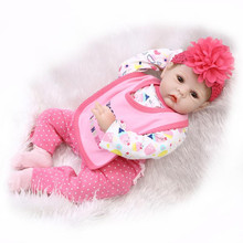 Handmade 55cm Realistic Doll Reborn Babies Baby Silicone Dolls Girl Playmate For Kids 22″ Soft Dolls With Pink Dress Set