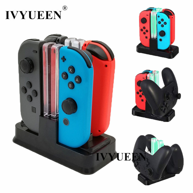 IVYUEEN 6 in 1 For Nintend Swicth Joy Con and NS Pro Controller Charger Charging Dock Stand Station With Led Indicator Cable
