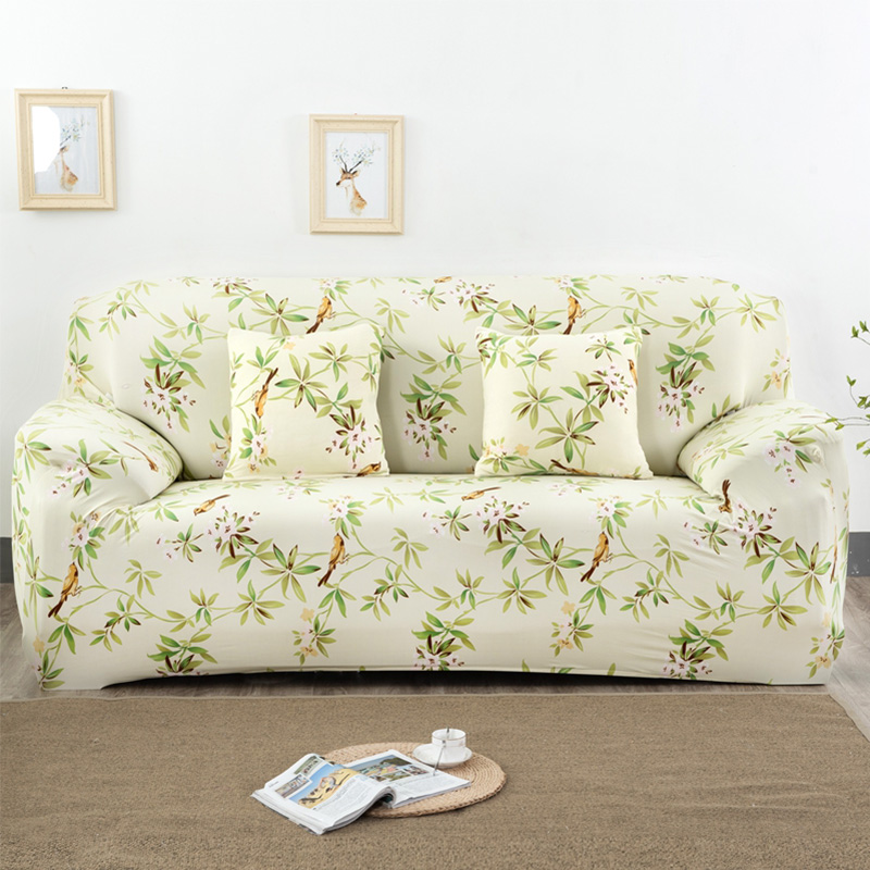 US $15.98 53% OFF|Universal Stretch Sofa Cover Spandex Polyester Couch  Slipcover Sectional Sofa Armchair Furniture Cover Floral Birds Leaves  SC033-in ...