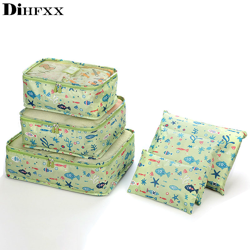 6pcs/set High Quality Women Travel Luggage Bag Zipper Waterproof Oxford Cloth Packing Organizer Bags Cube Travel Accessories