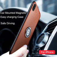 Men Women Safety Driving Leather Phone Cases For IPhone X Cases With Car Holder Easy Charging