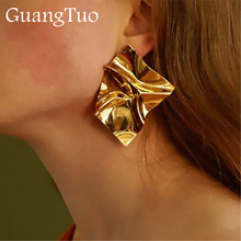 EK2126 Exaggerated Brand Gold Color Irregular Square Shiny Metal Big Drop Earrings Women Rhombus Punk Earrings Party Jewelry(China)