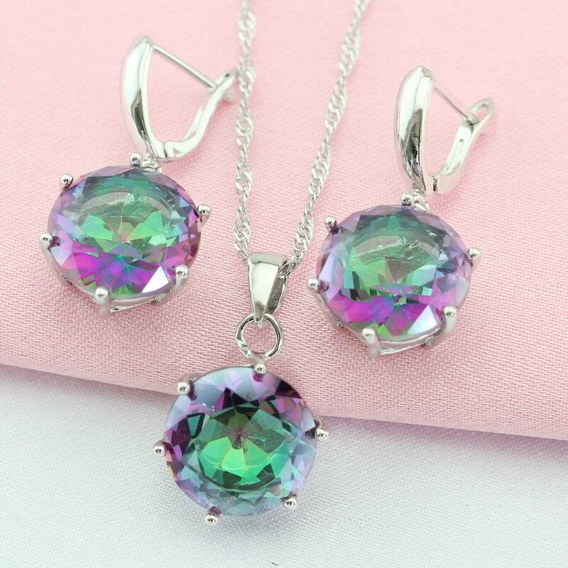 WPAITKYS Vícebarevná Cubic Zirconia Stříbrné barvy Sada šperků pro ženy Šperky kolem krku Náušnice Přívěsek Dárková krabička zdarma