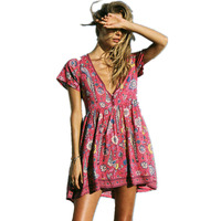Boho Dress Red Floral Print Mini Dress V Neck Short Seeve Women Dresses 2017 New Summer